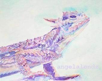 TCU Horned Frog: Colorful Print of Original Watercolor Painting