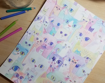 Cats and Kittens -  Print of Original Watercolor Painting