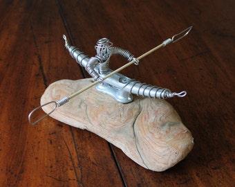 Driftwood Sculpture, Driftwood metal, Kayak sculpture, Metal Kayak, Dock Cleat Kayak, Dock Cleat Sculpture, Driftwood, Sculpture, Wire Art