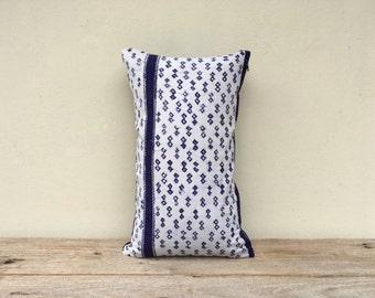 "Vintage Cotton Ethnic Indigo Hand Print Decorative Throw Pillow Case 12"" x 20""  Hmong pillow strips,"