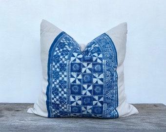 "Ethnic Hmong hand block printed indigo Vintage Hand Print Batik Organic Pure Hemp Pillow Case 24"" x 24""  farmhouse  rustic nordic japandi"