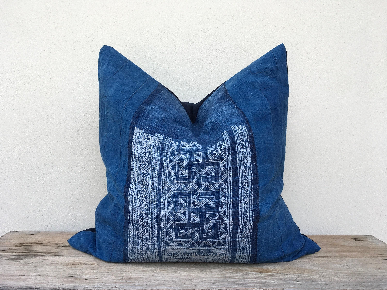 Hmong Textile Batik Made A Piece Of Tradition Costume Boho Bohemian RARE VINTAGE Handmade HMONG Ethnic indigo Pillow Case