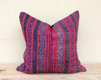 "Vintage Ethnic Hmong Homespun Oganic Hemp Batik Hand Woven Pillow Case 20"" x 20""  Hmong pillow strips,  eco friendly"