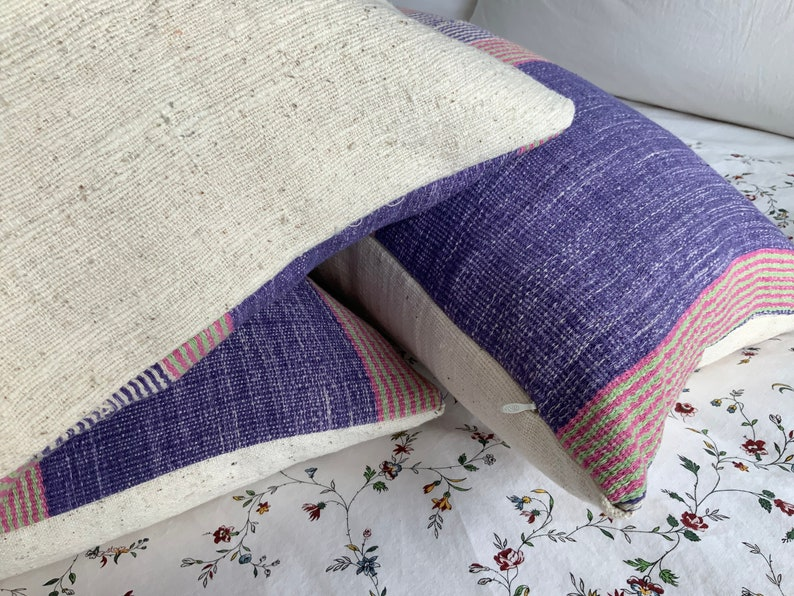 Orientaltribe throw pillow cover woven striped cushion,living room Purple accent pillow Hmong apartment Karen pink jungalow