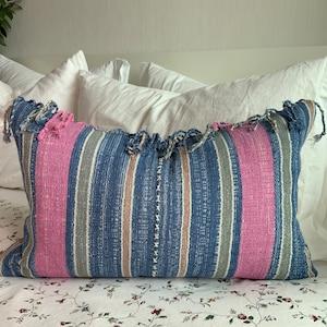 burgundy Karen Hmong,red Hand woven Oriental tribe decorative pillow case