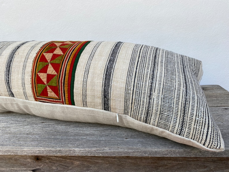 white Hemp Bohemian,Linen pillow cover 12 x 36 pillow case Hmong Vintage Hmong Pillow HMONG PILLOW LUMBAR Farmhouse Boho Pillow