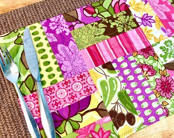4 Quilted Placemats, Floral Placemats, Modern Placemats, Fabric Placemats, Olives, Wine Decor, Vineyard Decor, Wine Country, Napa Style