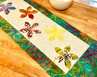 Quilted Table Runner, Batik Table Runner, Applique Table Runner, Table Topper, Floral Table Topper, Modern Table Runner, Batik Fabric