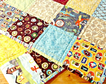 Baby Boy Quilt, Patchwork Quilt, Stroller Quilt, Play Mat, Animal Quilt, Baby Blanket, Riley Blake Fabric, Airplanes, Crib Quilt, Lap Quilt