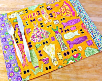 4 Quilted Placemats, Fabric Placemats, Fashionista Gift, Dresses, Paper Dolls, Clothes Print, High Fashion Decor, Orange Placemats, Clothing
