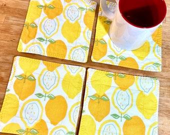 4 Quilted Coasters, Lemon Coasters, Fabric Mug Rugs, Daffodils, Fabric Coasters, Lemon Snack Mats, Lemon Home Decor, Reversible Coasters