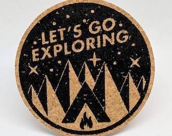 Let's Go Exploring - Cork Coasters - Set of 4
