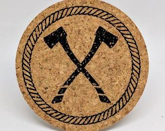 Timber! - Axe design - Cork Coasters - Set of 4