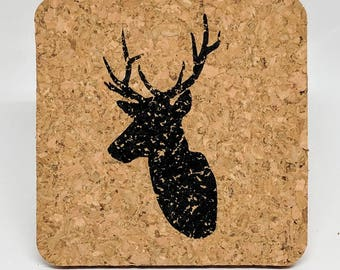 Elk - Cork Coasters - Set of 4