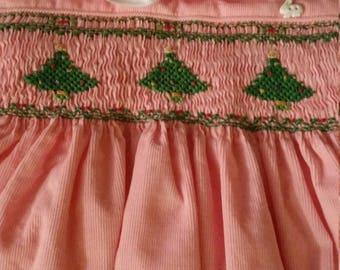 Christmas tree smocked dress