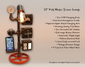 23 quot Steampunk Tower Lamp Night Light, AC USB Outlets, Smartphone Cradle, Working Volt Meter, Pressure Gauge, Optional Apple Watch Charger