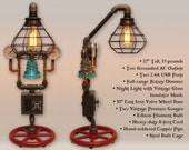 27 quot Steampunk Industrial Pipe Lamp Dimmer, Glass Insulator Night Light, USB charging, AC outlets, 2 Pressure Gauges, Iron Copper Pipes
