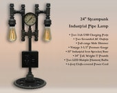 24 Steampunk Industrial Iron Pipe Lamp with AC USB outlets, Vintage Pressure Gauge, Boston Sprocket Base, Dimmer, Two LED Bulbs