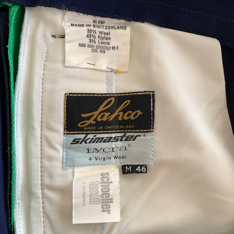 Vintage Lahco Wool Blend Stretch Ski Pants  Made in Switzerland  Schoeller Textil  Size 36
