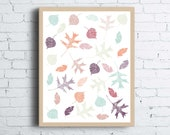 Autumn Leaves Printable Wall Art | Illustrated Leaves Fall Wall Art Print | Falling Leaves Pattern Modern Autumn Wall Decor