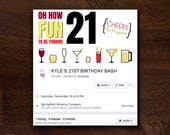 21st Birthday Facebook Event Cover Photo | Birthday Party Facebook Event Header | Party Facebook Event Banner | Oh How Fun to Be 21 Birthday