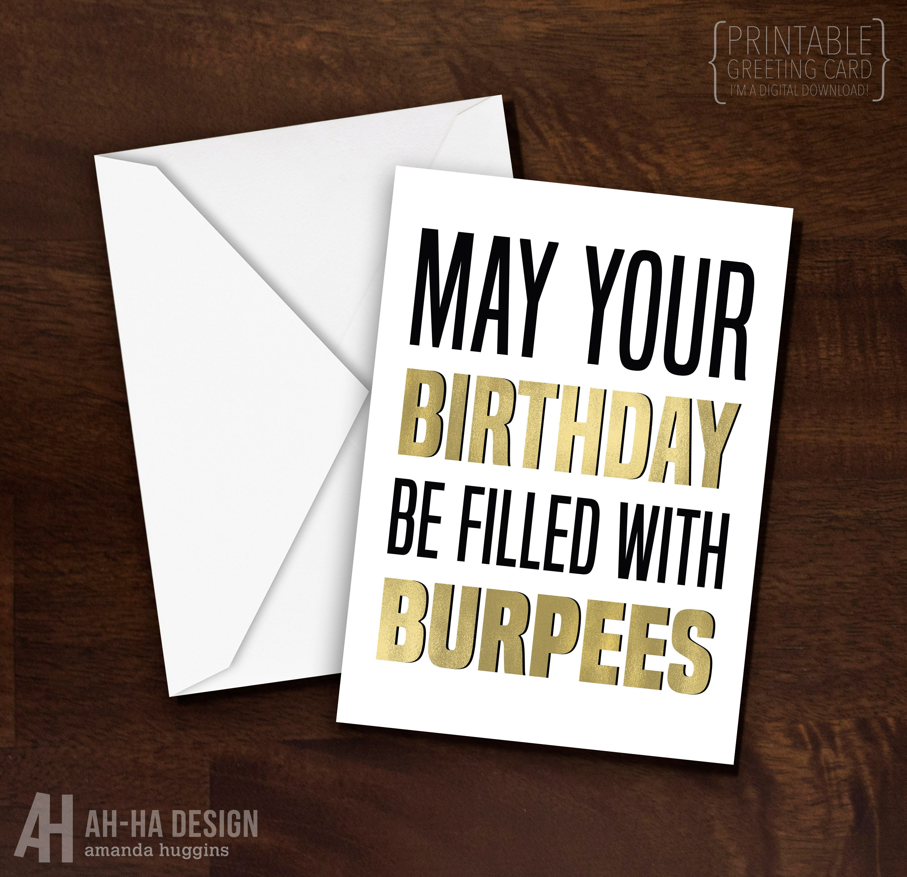 Birthday Burpees Crossfit Printable 5 X 7 Greeting Card