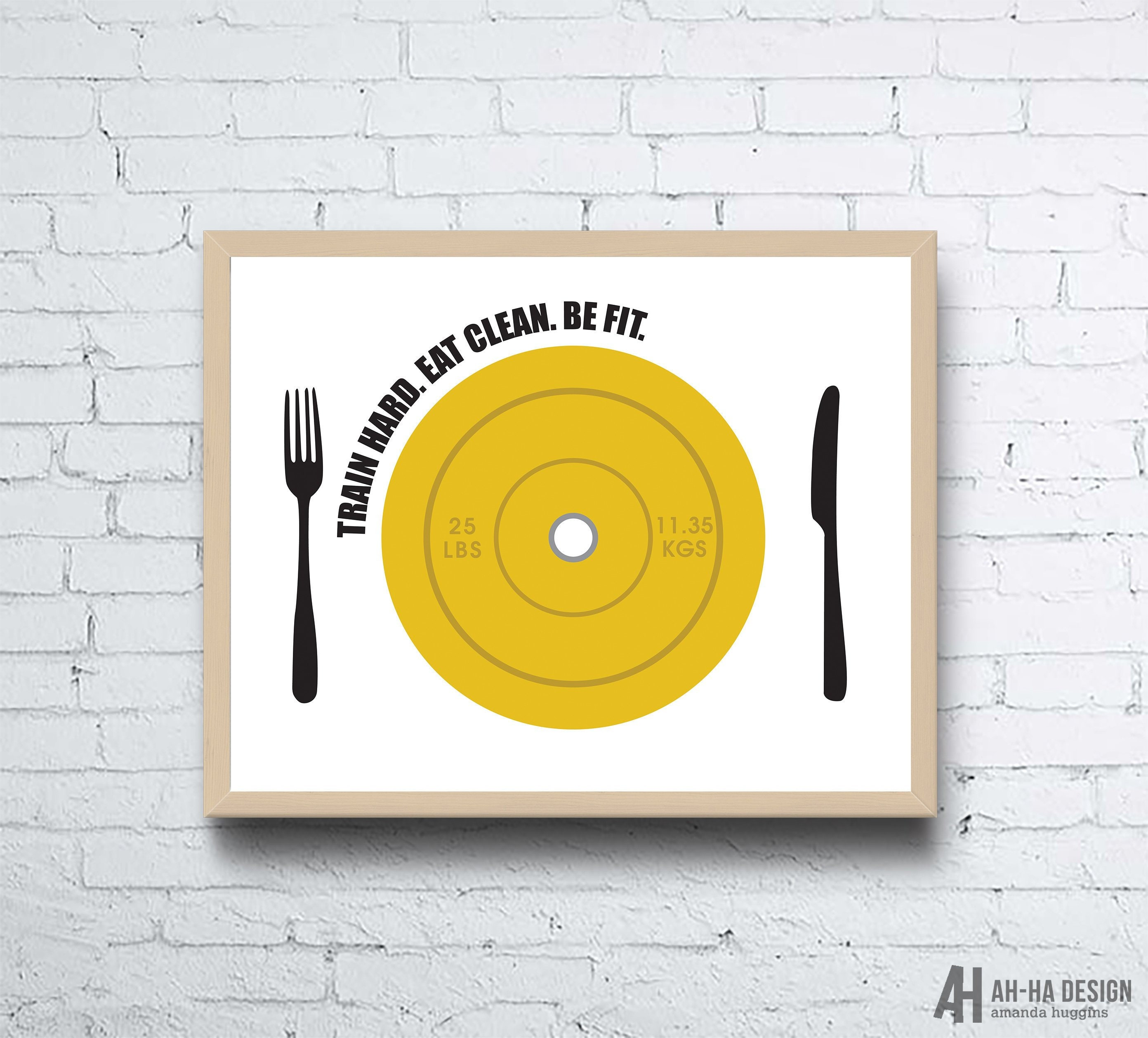 Crossfit Silver Spring: Yellow Bumper Plate Fitness Wall Art Crossfit Weights