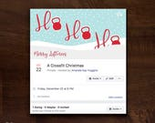 Ho Ho Ho Christmas Fitness Facebook Event Cover | Crossfit Christmas Party Facebook Event Header | Gym Facebook Event Banner