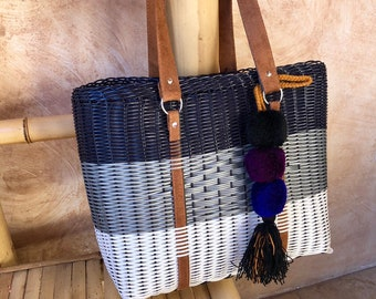 Gray and Blue Hand Woven Bag