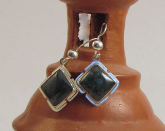 Guatemalan Dark Green Jade Earrings