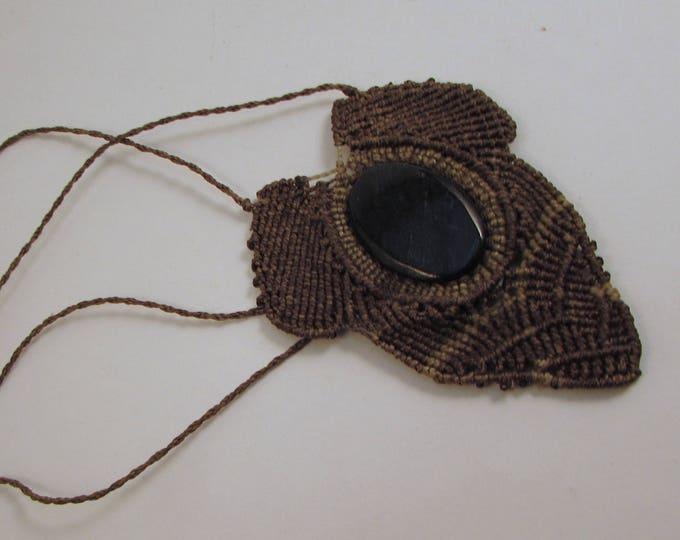 Macrame and Black Jade Pendant, Guatemalan Necklace, Boho Necklace, Guatemalan Jade