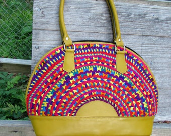 Guatemalan Bag:  San Mateo Ixtatan   Yellow Leather and Red Embroidery