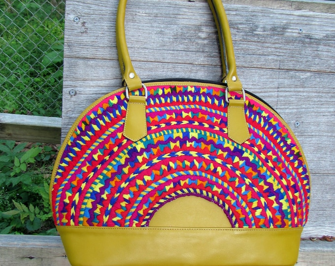Guatemalan Bag:  San Mateo Ixtatan   Yellow Leather and Red Embroidery