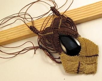 Macrame and Black Jade Pendant, Brown and Tan Macrame, Guatemalan Necklace, Boho Necklace, Guatemalan Jade