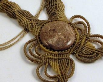 Macrame and Fossilized Tree Pendant, Guatemalan Necklace, Boho Necklace