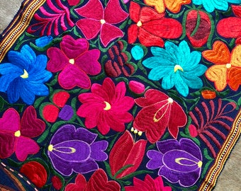Guatemalan Embroidered Textile - Pinks and Purples