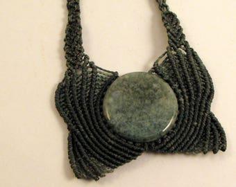Guatemalan Jaguar Jade Pendant, Guatemalan Jade Necklace, Macrame Necklace