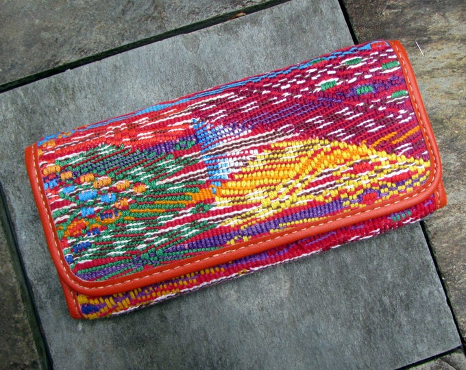 Guatemalan Wallet San Raimundo Huipil Design accented with Orange Leather