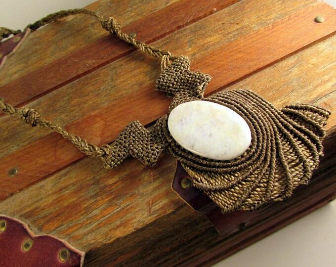 Guatemalan Lilac Jade Pendant, Guatemalan Jade Necklace, Macrame Necklace