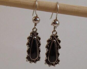 Guatemalan Black Jade Earrings TearDrop Shape wtih Silver Filagree