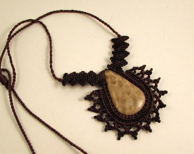 Macrame and Fossil Pendant, Guatemalan Necklace, Boho Necklace