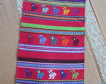 Mayan Textile - Stylized Birds in Red