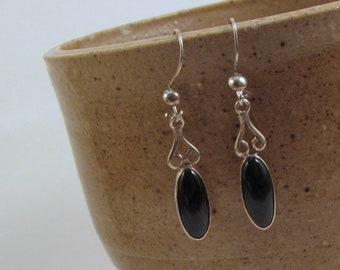 Guatemalan Black Jade Earrings Delicate and Dainty