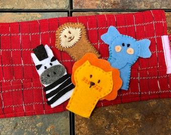 Jungle Animal Finger Puppets  Guatemalan Fabric
