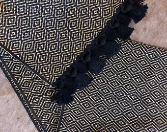 Guatemalan Hand Woven Textile - Black and Gold Brocade
