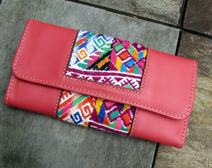 Guatemalan Leather Wallet Coral Leather and Nahuala Huipil