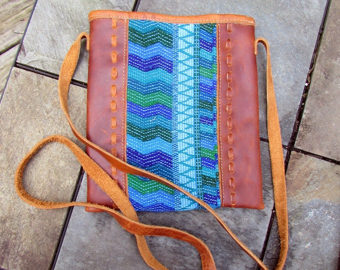 Guatemalan Bag:  Cross Body Bag in Turquoise Chevrons and Leather