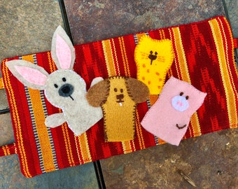 Cute Animal Finger Puppets and Carrying Case from Guatemalan Fabric