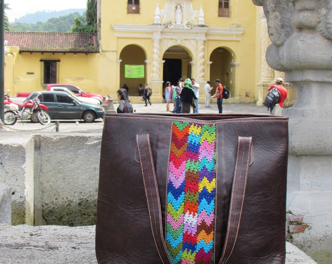Guatemalan Bag:  Alta Verz Paz Leather Tote Bag