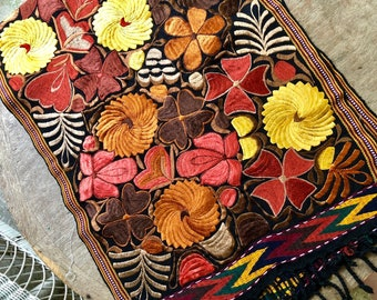 Guatemalan Embroidered Textile -Warm Browns